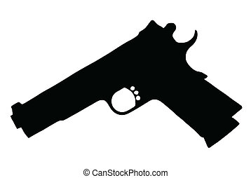 Isolated Firearm -Pistol (9 mm) - black on white silhouette