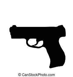 Isolated Firearm - Pistol - black on white silhouette