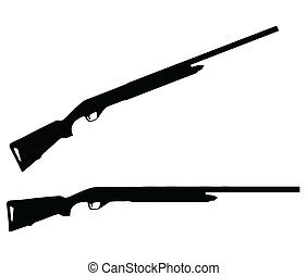 Isolated Firearm - Shotgun - black on white silhouette