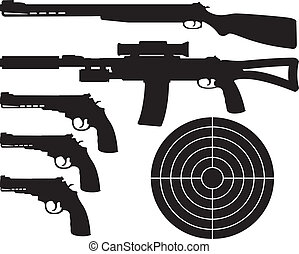 weapons silhouettes and target