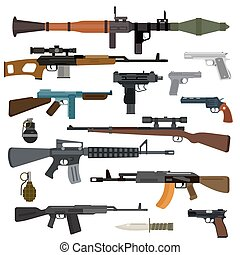 Weapons vector guns collection