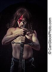 weapon.savage, strijder, met, ijzer, zwaard