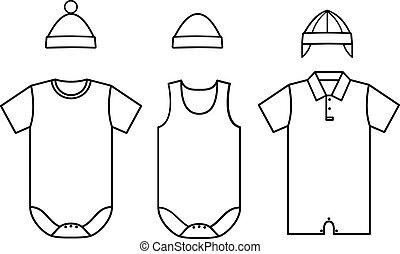 wear., 赤ん坊, セット, ベクトル, 子供