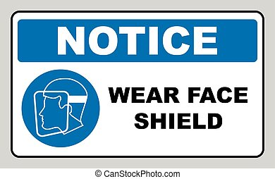 Wear a face shield sign. Information mandatory symbol in blue circle isolated on white. Vector illustration. Notice label