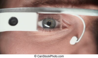 Wear and Dare - Extreme close up of male eyes in smart...