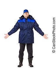 wear., arbeit, winter, mann