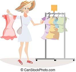 wear., cosa, donna, chooses
