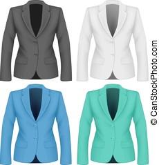 wear., dames, jacket., travail, formel