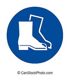Wear foot protection safety sign