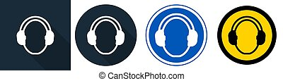 Wear hearing protection Symbol Sign Isolate on White Background, Vector Illustration