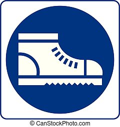 Wear safety footwear. Protective safety boots must be worn, mandatory sign, vector illustration
