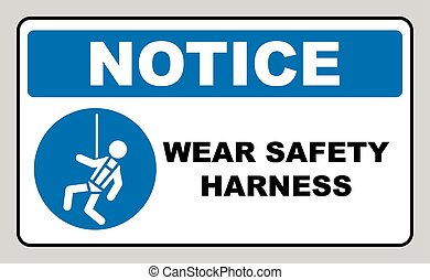 Wear safety harness sign. Information mandatory symbol in ...
