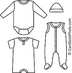 wear., vector, illustratie, kind