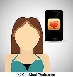 wearable, 技術, design., 社会, 媒体, icon., smartphone, concep, ベクトル, イラスト