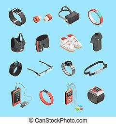 Wearable Technology Isometric Icons Set