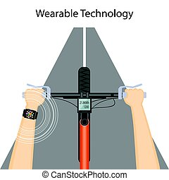 Flat modern vector illustration concept of wearable technology with smart watch, speedometer and hands on the bike handlebar. eps 10.