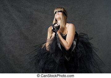 weared, con los ojos vendados, tutu, negro, ella, waiting.,...