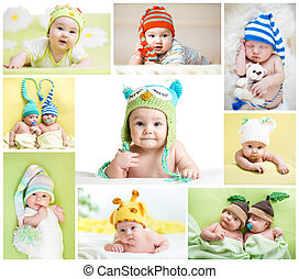 weared, divertido, conjunto, sombreros, niños, bebes, o