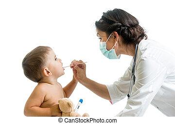 weared, examinar, protector, niño, doctor, máscara, niño