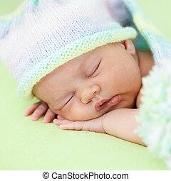 weared, gorra, sueño, verde, bebé, adorable