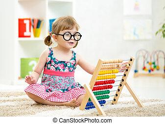 weared, juguete, niño, niño, ábaco, juego, anteojos