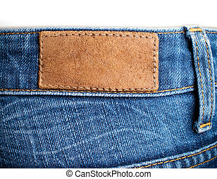 weared, leder, jeans, back, etiket, leeg, aanzicht
