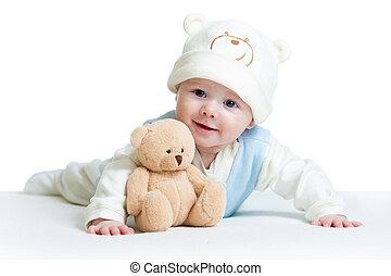 weared, lindo, juguete, divertido, bebé, sombrero, felpa