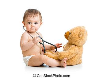 weared, lindo, juguete, niño, estetoscopio, pañal, bebé