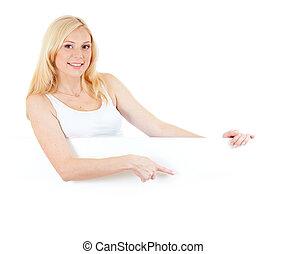 weared, loiro, tanque, dela, apontar, adorável, topo, em branco, isolado, menina, estúdio, tábua, mãos, tiro, branca, exibindo, ou