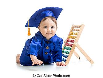 weared, mostrador, bebé, academical, sonriente, ropa