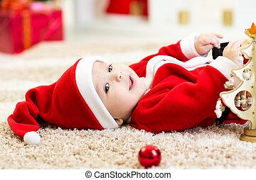 weared, niño, pelota, santa, teniendo bebé, navidad