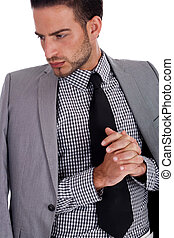 weared, seine, geschäftsbekleidung, hälfte, ernst, mann