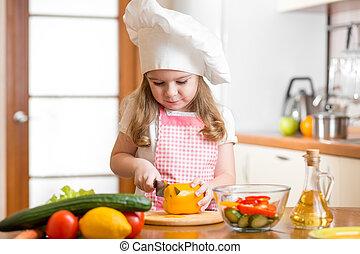 weared, vegetales, corte, cocinero, niña, niño