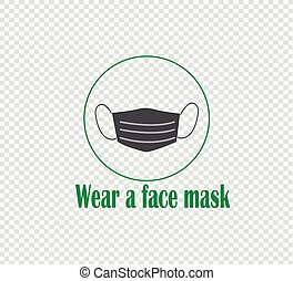 Wearing a medical mask is a prophylaxis against coronavirus and infectious diseases. Medical mask, mask for the patient - gray vector icon on transparent background