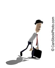 Weary businessman - Cartoon style businessman trudging...