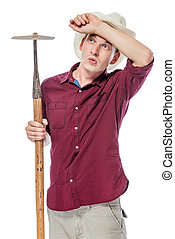 weary farmer with a hoe in the hat on a white background