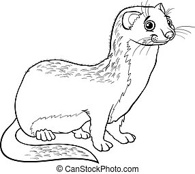 weasel animal cartoon coloring book - Black and White...
