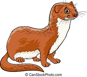 weasel animal cartoon illustration - Cartoon Illustration of...