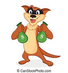 Weasel cartoon mascot as a thieft carrying money bags...