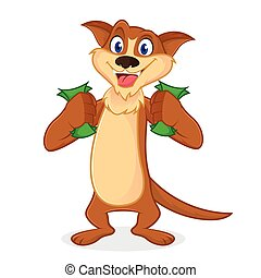 Weasel cartoon mascot holding money isolated in white...