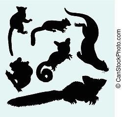 Weasel squirrel and koala silhouette - Weasel, squirrel and...