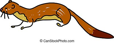 weasel - a weasel or stoat isolated on white drawn in...