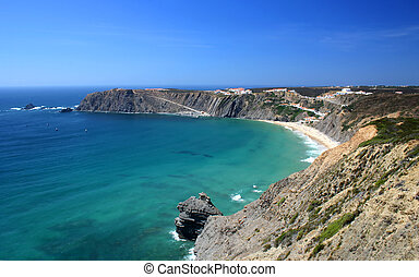 Weat coast of Portugal (Arrifana-Costa Vicentina-Algarve) with people at the beach