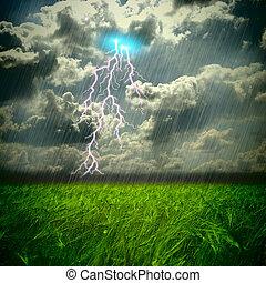 weat, feld, hart, sturm, regen