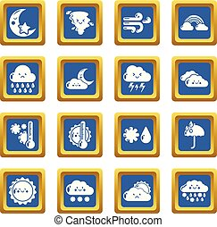 Weater icons set blue square vector