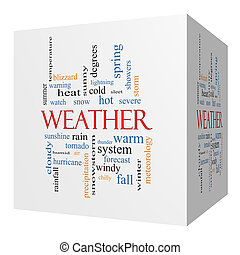 Weather 3D cube Word Cloud Concept