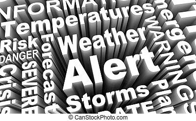 Weather Alert Storm Update Danger Warning Words 3d Animation