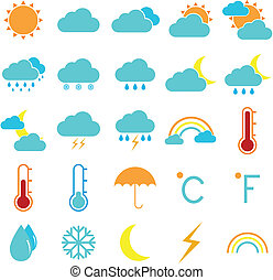 Weather and climate color icons on white background, stock ...