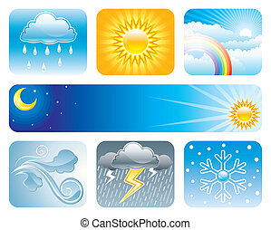 Set of Weather and Climate vector illustration layered.
