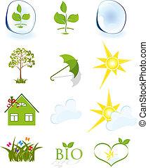 Weather and ecology symbols isolated on white background vector illustration.